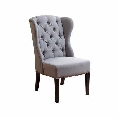 SIERRA TUFTED GREEN-GREY LINEN WINGBACK DINING CHAIR - Abbyson Living