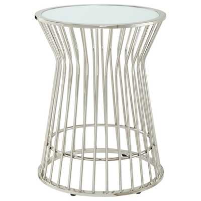 Cyril Frosted Glass Top Drum Metal Accent End Table - Overstock