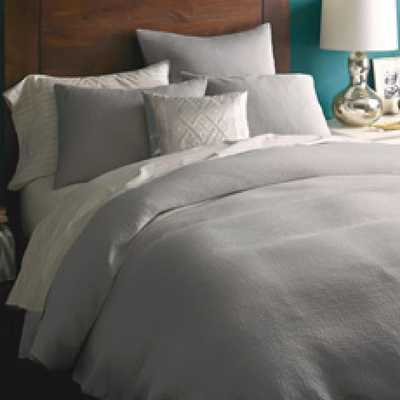 Organic Brighton Matelasse Duvet Cover Cover, King, Platinum - West Elm