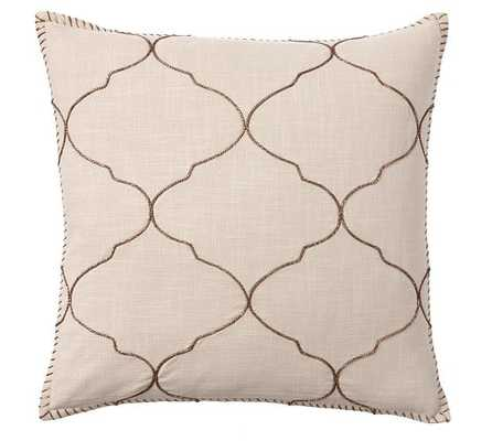 Tile Embroidered Pillow Cover - Khaki - 22'' x 22'' - Insert Not Included - Pottery Barn