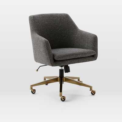 Helvetica Desk Chair, Salt + Pepper, Tweed (Blackened Bronze Base) - West Elm