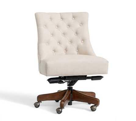Hayes Swivel Desk Chair - Oatmeal Linen & Brown - Pottery Barn