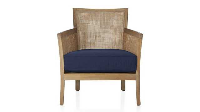 Blake Grey Wash Chair with Fabric Cushion - Denim - Crate and Barrel
