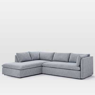 Shelter Left Terminal Chaise 2-Piece Sectional - Yarn Dyed Linen Weave - Shelter Blue - West Elm