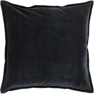"Askern Smooth Velvet Cotton Throw Pillow - Charcoal - 18"" x 18"" - Polyester Insert - Wayfair"