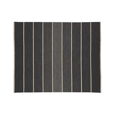 Bold Graphite Grey Striped Wool-Blend Dhurrie 8'x10' Rug - Crate and Barrel