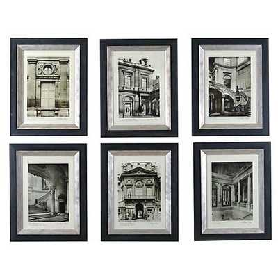 "Uttermost Set of Six Paris Art Prints - 19"" x 24"" - Black/Silver  Frame - Mat - Lamps Plus"