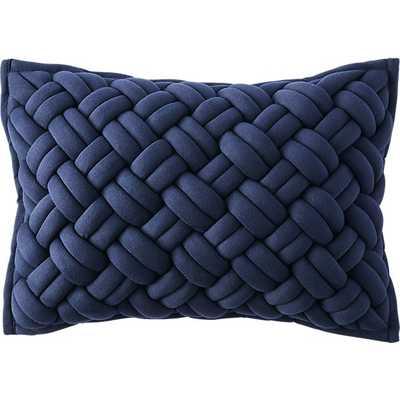 Jersey interknit navy pillow - Feather Down Insert - CB2