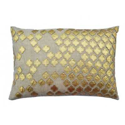 Verona Gold Applique Pillow - 20w 14h - Insert sold separately - High Fashion Home