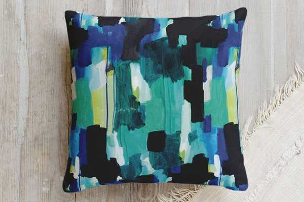 "Waiting - textile pillow - Teal - 20"" x 20"" - Down Insert - Minted"