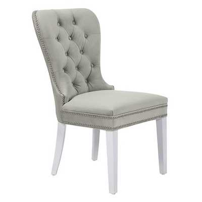 Charlotte Side Chair [LegColor : High Gloss White; NailHead : Bright Nickel; Fabric : Bella Grey] - Z Gallerie