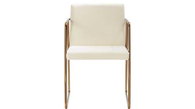 Rouka white velvet chair - CB2
