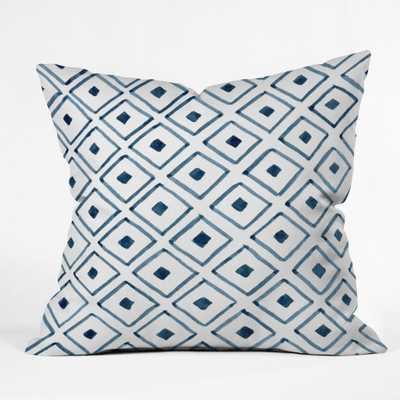 "INDIGO ASCOT Throw Pillow - 16"" x 16"" - Pillow Cover White Insert - Wander Print Co."