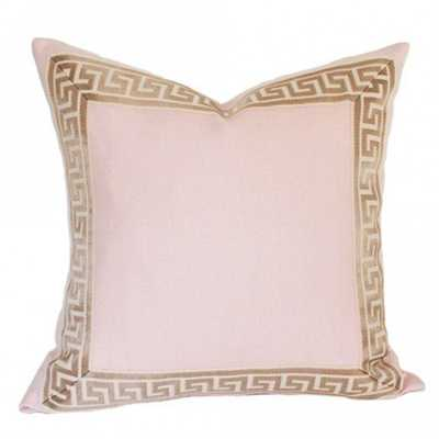 "Pale Pink Linen with Greek Key Border - 18"" x 18"" - Insert sold separately - Arianna Belle"