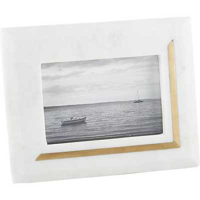 Silas marble-brass 4x6 picture frame - CB2