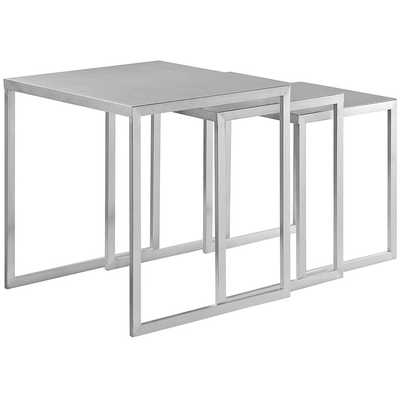 RAIL STAINLESS STEEL NESTING TABLE IN SILVER - Modway Furniture