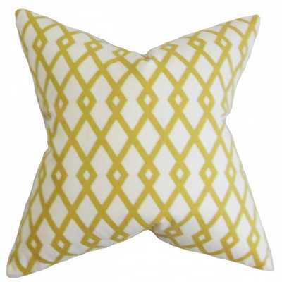 "Tova Geometric Pillow Yellow - 18"" x 18"" - Down Insert - Linen & Seam"