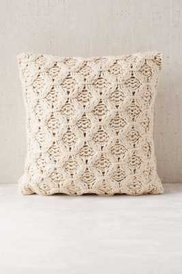 "Chunky Cotton Knit Pillow - Ivory - 18"" - Insert Not Included - Urban Outfitters"