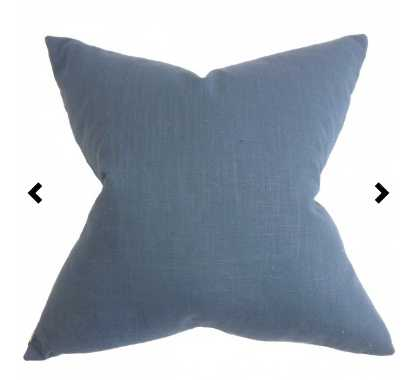 "Ninian Solid Pillow Blue - 18""Sq - Down insert - Linen & Seam"