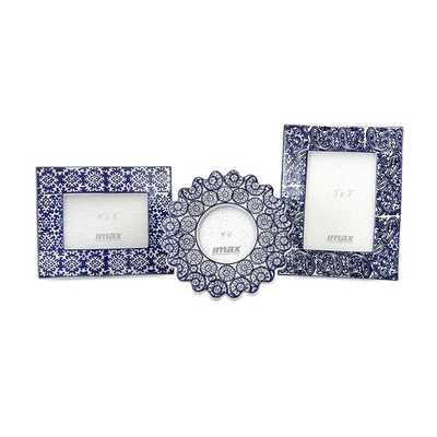 Lucenda Blue and White Ceramic Frames - Set of 3 - Mercer Collection