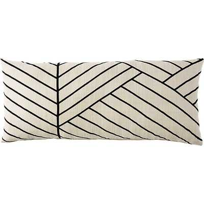"Forma 36""x16"" pillow with down-alternative insert - Beige/ Black - CB2"