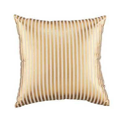 "Pinstripe Pillow (Gold) - 14"" x 14'' - Polyester fill - Land of Nod"