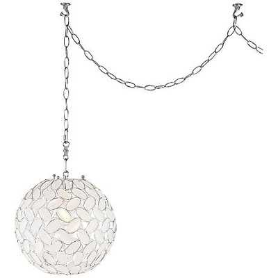 "Kaia Frosted Beads 12"" Wide Chrome Plug-In Swag Pendant - Lamps Plus"