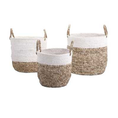 Shoelace and Raffia Woven Baskets - Set of 3 - Mercer Collection
