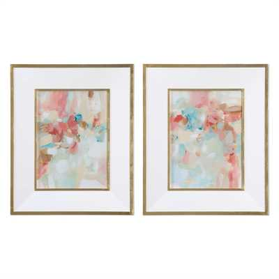 A Touch of Blush and Rosewood Fences - 28 W X 34 H (in) - Gold Frame with Mat - Hudsonhill Foundry