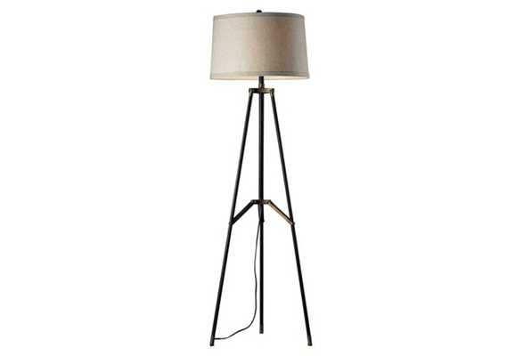 Tripod Floor Lamp, Black/Aged Gold - One Kings Lane