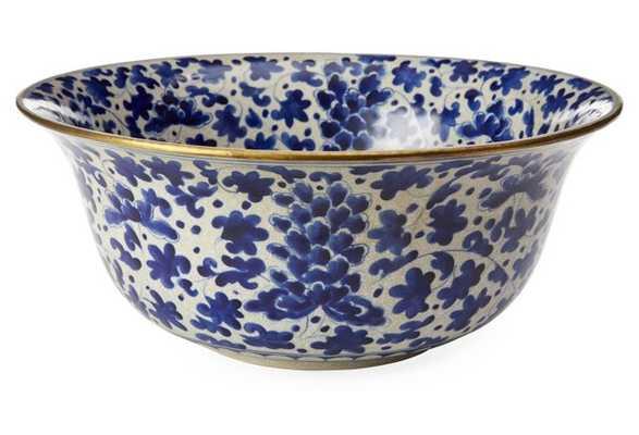 "15"" Vine-and-Flower Bowl, Blue - One Kings Lane"