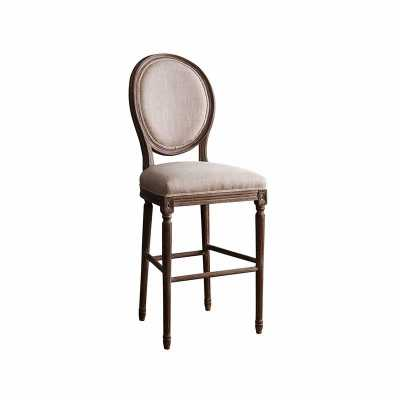 French Vintage Wheat Linen Round Back Bar Stool - Abbyson Living