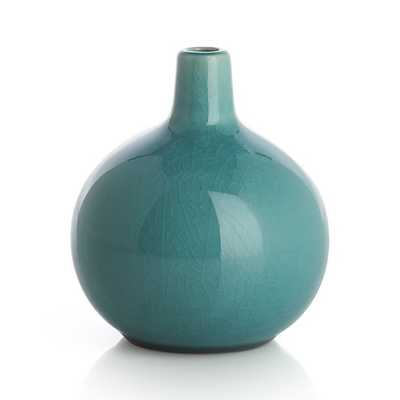 Perry Short Turquoise Vase - Crate and Barrel