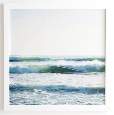 """RIDE WAVES Framed Wall Art - 30"""" x 30"""" - Basic White Frame - Wander Print Co."""