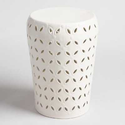 White Punched Metal Lili Drum Stool - World Market/Cost Plus