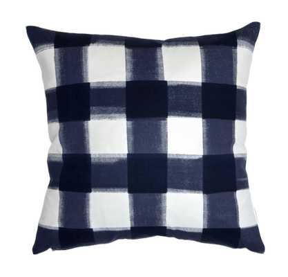 "NAVY BURNSIDE BUFFALO CHECK PILLOW - 20""sq. - No insert - Caitlin Wilson"