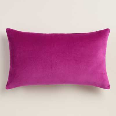 "Wild Aster Velvet Lumbar Pillow- Purple-  12""W x 20""L - Polyester fill - World Market/Cost Plus"