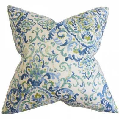"""Halcyon Floral Pillow Blue Green - 20"""" x 20"""" - Down Insert - Linen & Seam"""