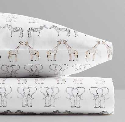 Watercolor Safari Animal Print Crib Fitted Sheet - Multi - RH Baby & Child