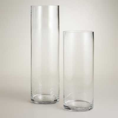 """Clear Glass Cylinder Vases - 15.5""""H - World Market/Cost Plus"""