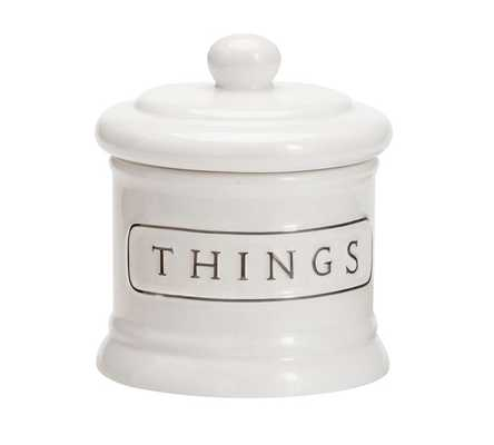 Ceramic Text Bath Accessories - Small Canister - Pottery Barn