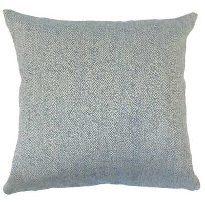 "Zesiro Woven Pillow Blue,  20"" Pillow with Down Insert - Linen & Seam"