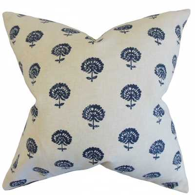"""Londyn Floral Pillow Indigo - 20"""" x 20"""" - Down Insert - Linen & Seam"""