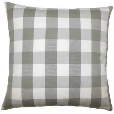"Nelson Plaid Pillow Iron - 20"" x 20"" - Down Insert - Linen & Seam"