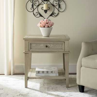 Manelin White Washed End Table - Overstock