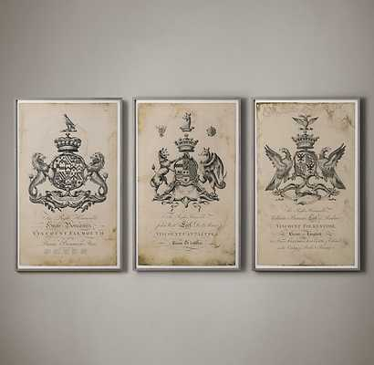 18TH C. ENGLISH ARMORIAL ENGRAVINGS LARGE - RH