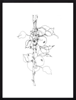 """Apple Tree 1 - 23x31"""" - Black Wood Frame with Matte - Artfully Walls"""
