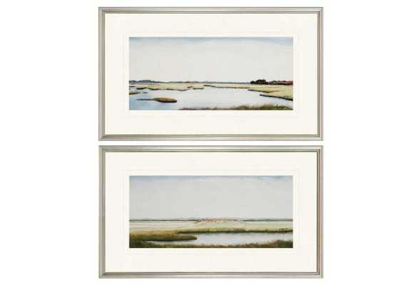 "Marshlands I Diptych - 18"" x 30"" - Silver Frame with Mat - One Kings Lane"