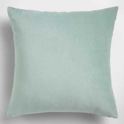 "Ocean Blue Velvet Throw Pillow - 18"" x 18"" - Polyester  Insert - World Market/Cost Plus"