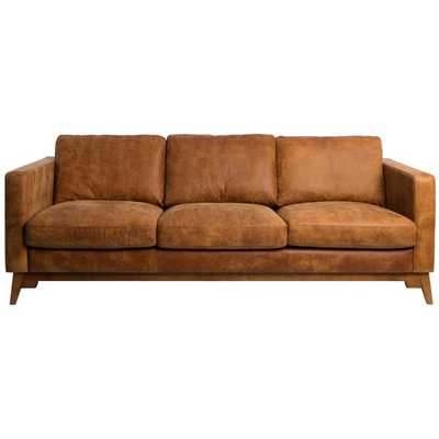 Filmore 89-inch Tan Leather Sofa - Overstock